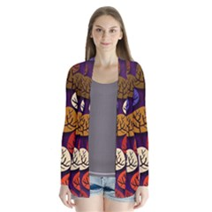 Colorful Trees Background Pattern Drape Collar Cardigan