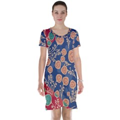 Floral Seamless Pattern Vector Texture Short Sleeve Nightdress