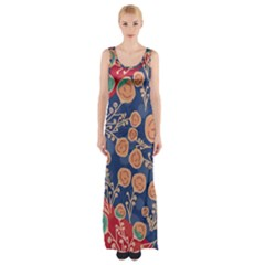 Floral Seamless Pattern Vector Texture Maxi Thigh Split Dress