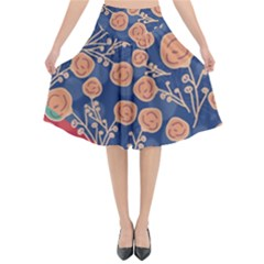 Floral Seamless Pattern Vector Texture Flared Midi Skirt