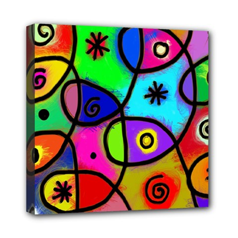 Digitally Painted Colourful Abstract Whimsical Shape Pattern Mini Canvas 8  x 8