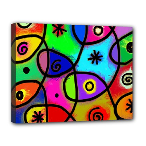 Digitally Painted Colourful Abstract Whimsical Shape Pattern Canvas 14  X 11