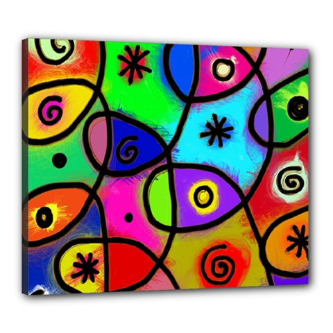 Digitally Painted Colourful Abstract Whimsical Shape Pattern Canvas 24  x 20