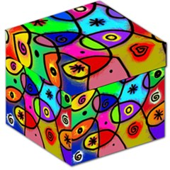 Digitally Painted Colourful Abstract Whimsical Shape Pattern Storage Stool 12