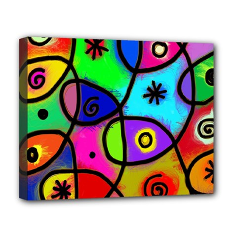 Digitally Painted Colourful Abstract Whimsical Shape Pattern Deluxe Canvas 20  X 16
