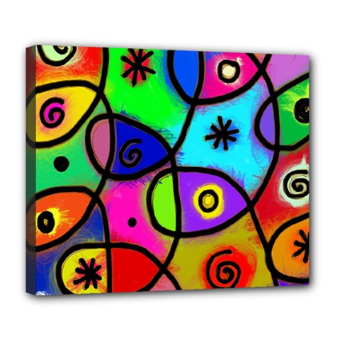 Digitally Painted Colourful Abstract Whimsical Shape Pattern Deluxe Canvas 24  X 20