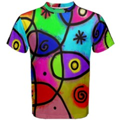 Digitally Painted Colourful Abstract Whimsical Shape Pattern Men s Cotton Tee