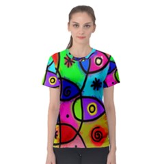 Digitally Painted Colourful Abstract Whimsical Shape Pattern Women s Sport Mesh Tee