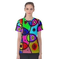 Digitally Painted Colourful Abstract Whimsical Shape Pattern Women s Cotton Tee