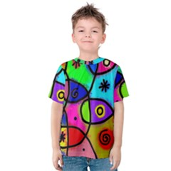 Digitally Painted Colourful Abstract Whimsical Shape Pattern Kids  Cotton Tee
