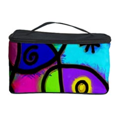 Digitally Painted Colourful Abstract Whimsical Shape Pattern Cosmetic Storage Case