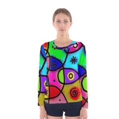 Digitally Painted Colourful Abstract Whimsical Shape Pattern Women s Long Sleeve Tee