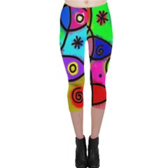 Digitally Painted Colourful Abstract Whimsical Shape Pattern Capri Leggings