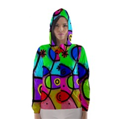 Digitally Painted Colourful Abstract Whimsical Shape Pattern Hooded Wind Breaker (women)