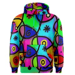 Digitally Painted Colourful Abstract Whimsical Shape Pattern Men s Pullover Hoodie
