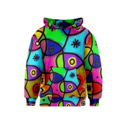 Digitally Painted Colourful Abstract Whimsical Shape Pattern Kids  Pullover Hoodie
