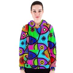 Digitally Painted Colourful Abstract Whimsical Shape Pattern Women s Zipper Hoodie