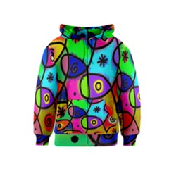 Digitally Painted Colourful Abstract Whimsical Shape Pattern Kids  Zipper Hoodie