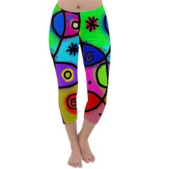 Digitally Painted Colourful Abstract Whimsical Shape Pattern Capri Winter Leggings