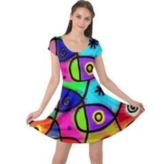 Digitally Painted Colourful Abstract Whimsical Shape Pattern Cap Sleeve Dresses