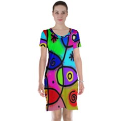 Digitally Painted Colourful Abstract Whimsical Shape Pattern Short Sleeve Nightdress