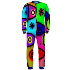 Digitally Painted Colourful Abstract Whimsical Shape Pattern Onepiece Jumpsuit (men)