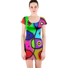 Digitally Painted Colourful Abstract Whimsical Shape Pattern Short Sleeve Bodycon Dress