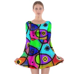 Digitally Painted Colourful Abstract Whimsical Shape Pattern Long Sleeve Skater Dress