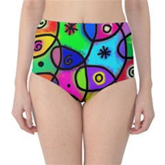 Digitally Painted Colourful Abstract Whimsical Shape Pattern High Waist Bikini Bottoms
