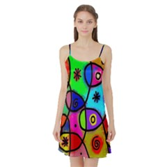 Digitally Painted Colourful Abstract Whimsical Shape Pattern Satin Night Slip