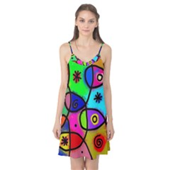 Digitally Painted Colourful Abstract Whimsical Shape Pattern Camis Nightgown