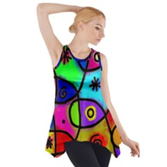 Digitally Painted Colourful Abstract Whimsical Shape Pattern Side Drop Tank Tunic