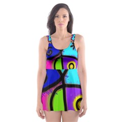 Digitally Painted Colourful Abstract Whimsical Shape Pattern Skater Dress Swimsuit