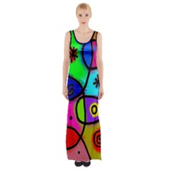 Digitally Painted Colourful Abstract Whimsical Shape Pattern Maxi Thigh Split Dress