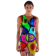 Digitally Painted Colourful Abstract Whimsical Shape Pattern Wrap Front Bodycon Dress