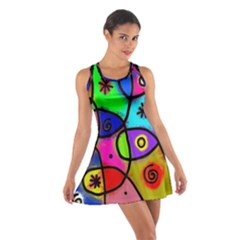 Digitally Painted Colourful Abstract Whimsical Shape Pattern Cotton Racerback Dress