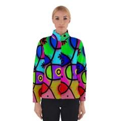 Digitally Painted Colourful Abstract Whimsical Shape Pattern Winterwear