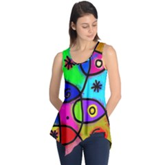 Digitally Painted Colourful Abstract Whimsical Shape Pattern Sleeveless Tunic