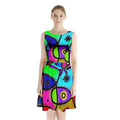 Digitally Painted Colourful Abstract Whimsical Shape Pattern Sleeveless Waist Tie Chiffon Dress
