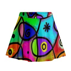 Digitally Painted Colourful Abstract Whimsical Shape Pattern Mini Flare Skirt