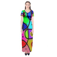 Digitally Painted Colourful Abstract Whimsical Shape Pattern Short Sleeve Maxi Dress