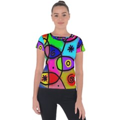 Digitally Painted Colourful Abstract Whimsical Shape Pattern Short Sleeve Sports Top