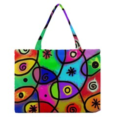 Digitally Painted Colourful Abstract Whimsical Shape Pattern Medium Zipper Tote Bag