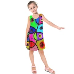 Digitally Painted Colourful Abstract Whimsical Shape Pattern Kids  Sleeveless Dress