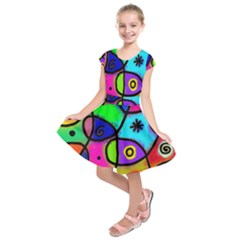Digitally Painted Colourful Abstract Whimsical Shape Pattern Kids  Short Sleeve Dress