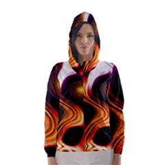 Colourful Abstract Background Design Hooded Wind Breaker (Women)