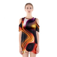 Colourful Abstract Background Design Shoulder Cutout One Piece