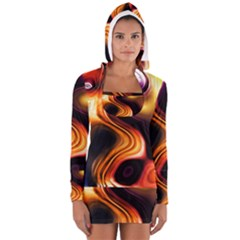 Colourful Abstract Background Design Women s Long Sleeve Hooded T-shirt