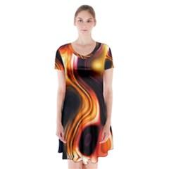 Colourful Abstract Background Design Short Sleeve V-neck Flare Dress