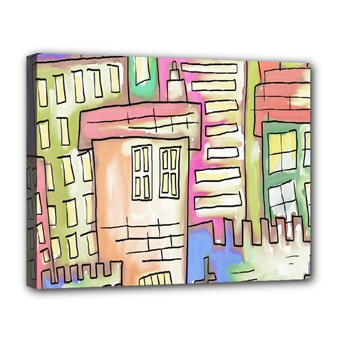 A Village Drawn In A Doodle Style Canvas 14  X 11